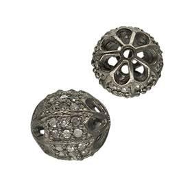 rhodium sterling silver 28pts 9mm diamond oval bead