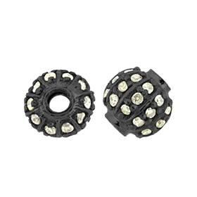 rhodium sterling silver 37pts 6mm diamond ball bead