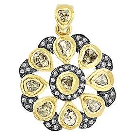gold plated and rhodium sterling silver 26mm 3.15cts diamond flower pendant