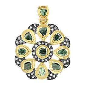 gold plated and rhodium sterling silver 26mm 3.15cts green diamond flower pendant