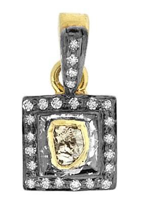 rhodium sterling silver 11mm 52pts diamond rectangle charm