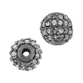 rhodium sterling silver 46pts 6mm diamond ball bead