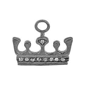 rhodium sterling silver 9pts 15mm diamond crown charm