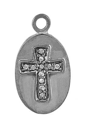 rhodium sterling silver 11pts 18x12mm diamond cross charm