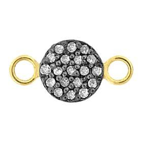 rhodium sterling silver 18pts 2 rows 8mm diamond disc connector
