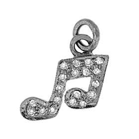rhodium sterling silver 30pts 10mm diamond music note charm