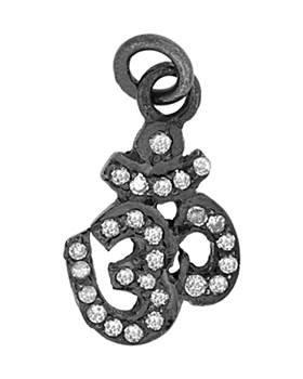 rhodium sterling silver 40pts 16mm diamond ohm charm