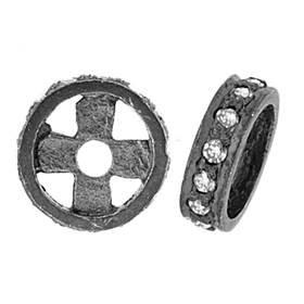 rhodium sterling silver 14pts 8x2mm diamond roundel bead