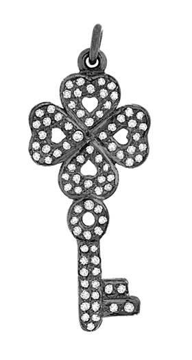 rhodium sterling silver 63pts 32mm diamond key pendant