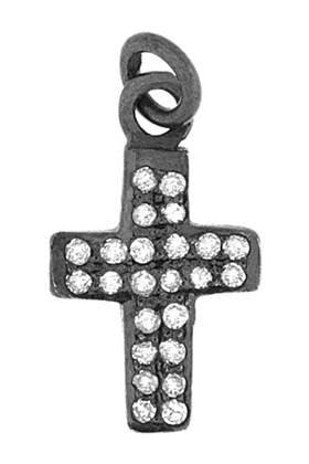 rhodium sterling silver 27pts 16mm diamond cross charm