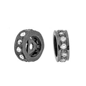 rhodium sterling silver 2x5mm 9pts diamond roundel bead