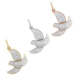 14K Diamond Dove Charms