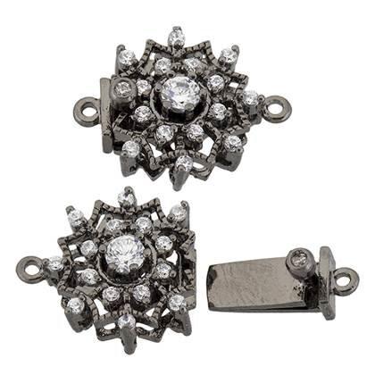 black rhodium sterling silver 12mm cubic zirconia filigree snow clasp