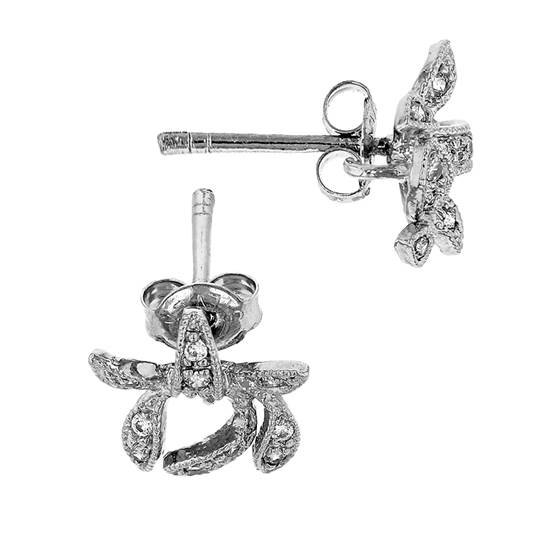 rhodium sterling silver 10mm with ring cubic zirconia bow earring