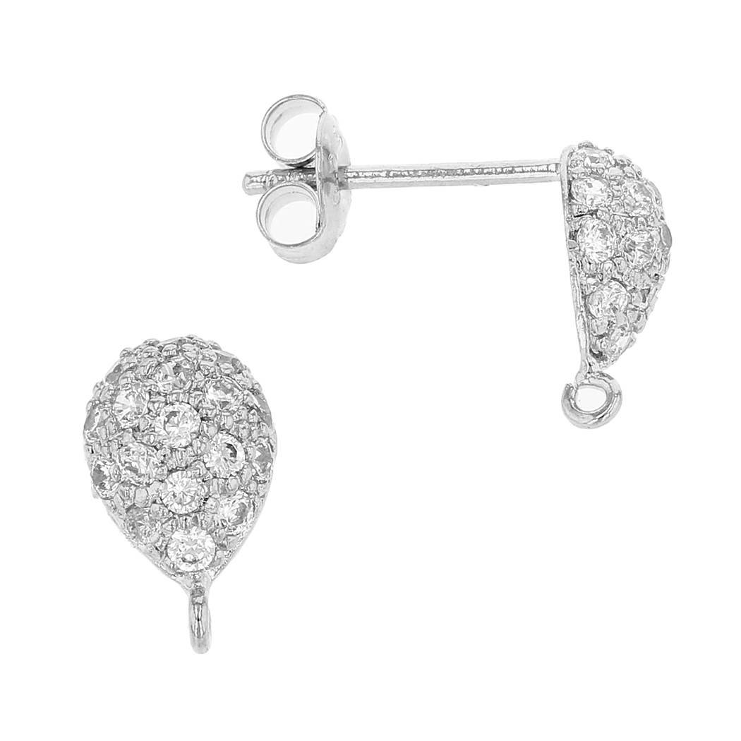rhodium sterling silver 9x6mm with ring cubic zirconia pear earring