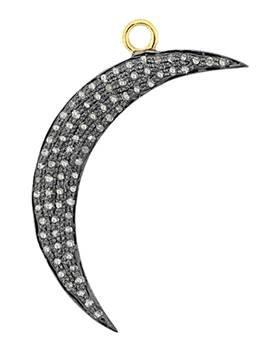 rhodium sterling silver 38mm 1.06cts diamond quarter moon pendant