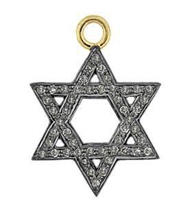 rhodium sterling silver 18mm 42pts diamond jewish star charm
