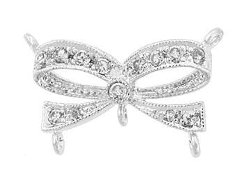 rhodium sterling silver 19x11mm cubic zirconia fancy bow connector