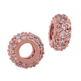 Rose Gold Vermeil Rondel Beads (White CZ)