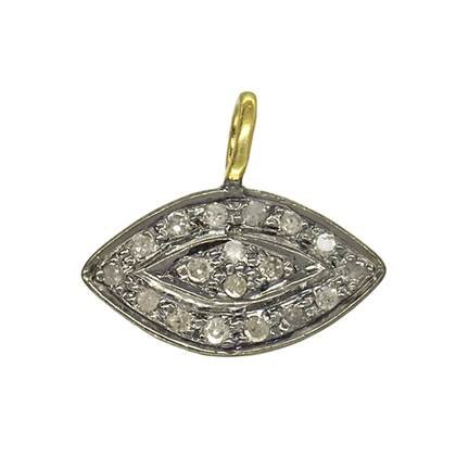 rhodium sterling silver 13x8mm 14pts diamond eye charm