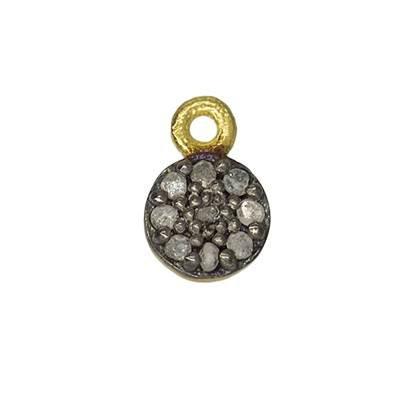 rhodium sterling silver 10pts 6mm/r diamond disc charm