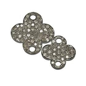 Rhodium Silver Clover Diamond Connector