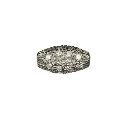 rhodium sterling silver 4x6mm 27pts diamond rice bead