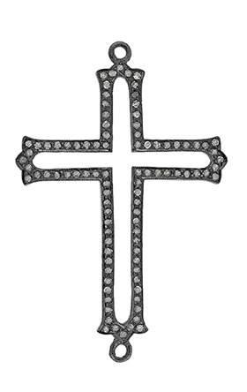 rhodium sterling silver 1.75cts 50x30mm diamond cross centerpiece