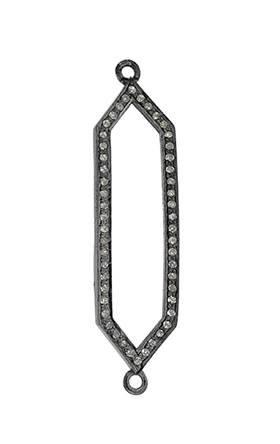 rhodium sterling silver 84pts 45x12mm diamond centerpiece
