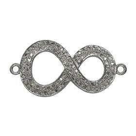 rhodium sterling silver 1.0cts 30x17mm diamond infinity centerpiece
