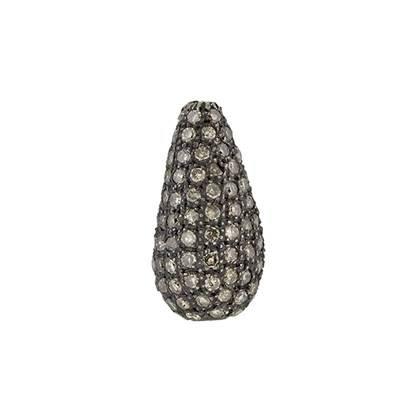 rhodium sterling silver 1.96cts 18x10mm diamond drop bead