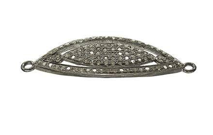 rhodium sterling silver 1.23cts 39x15mm diamond eye connector