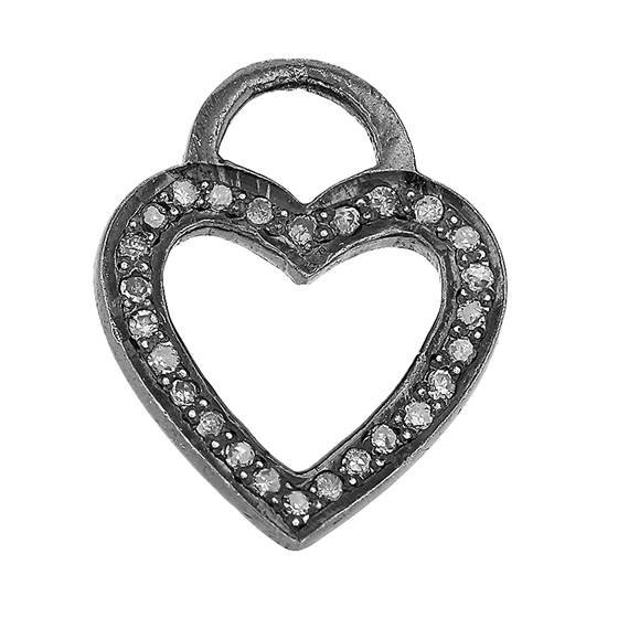 rhodium sterling silver 35pts 15mm diamond heart charm