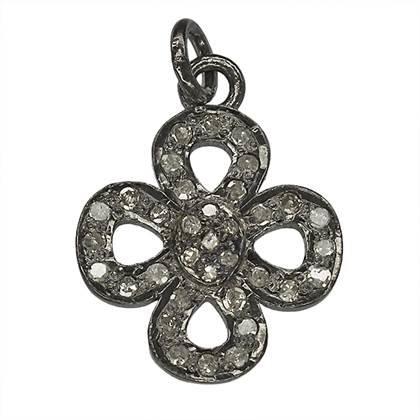 rhodium sterling silver 29pts 15mm diamond gift bow charm
