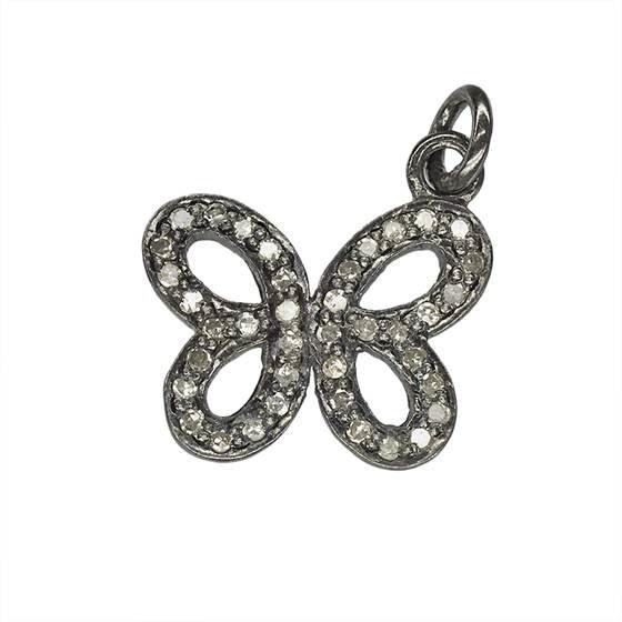 rhodium sterling silver 40pts 16x12mm diamond butterfly charm