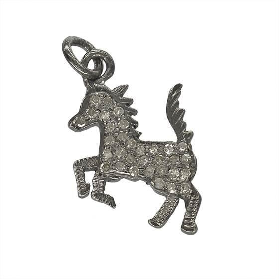 rhodium sterling silver 28pts 16x12mm diamond wild horse charm