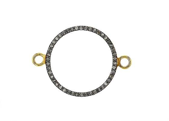rhodium sterling silver 39pts 21mm diamond circle connector