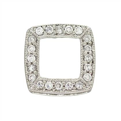 rhodium sterling silver 12mm cubic zirconia square connector