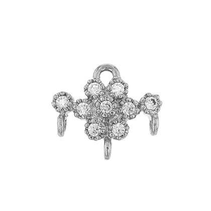 rhodium sterling silver 9x8mm cubic zirconia flower connector