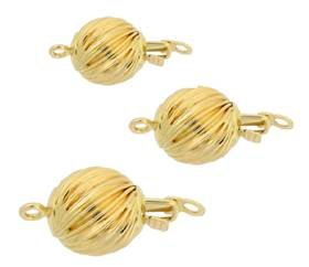 14KY Corrugated Spiral Ball Clasp
