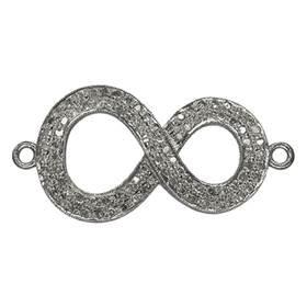 Rhodium Sterling Silver Infinity Diamond Connector