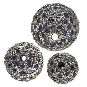 Rhodium Sterling Silver Blue Sapphire Bead