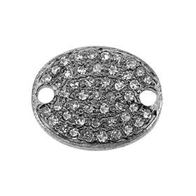 rhodium sterling silver 14x11mm diamond oval connector