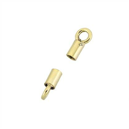 gold plated 1.25mm hole leather cord end