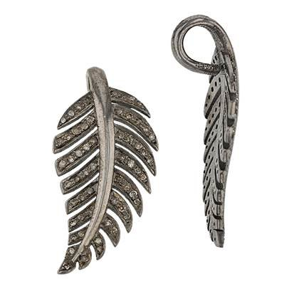 rhodium sterling silver 52pts 36mm diamond feather pendant