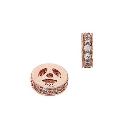 rose gold vermeil 5x2mm cubic zirconia rondelle bead