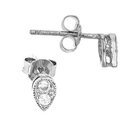rhodium sterling silver 5.5x4mm pear shape earring