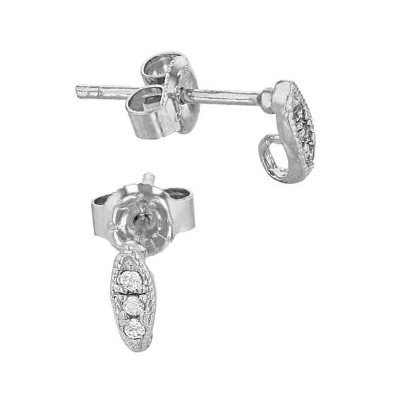 rhodium sterling silver 7x2mm marquise earring