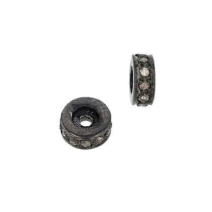 rhodium sterling silver 7pts 5mm diamond rondelle bead