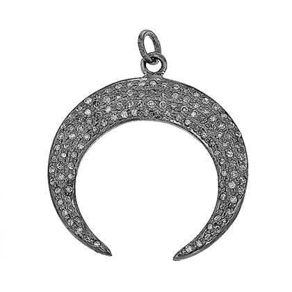 rhodium sterling silver 26mm diamond moon charm
